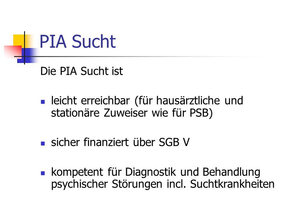 PIA Sucht Die PIA Sucht ist