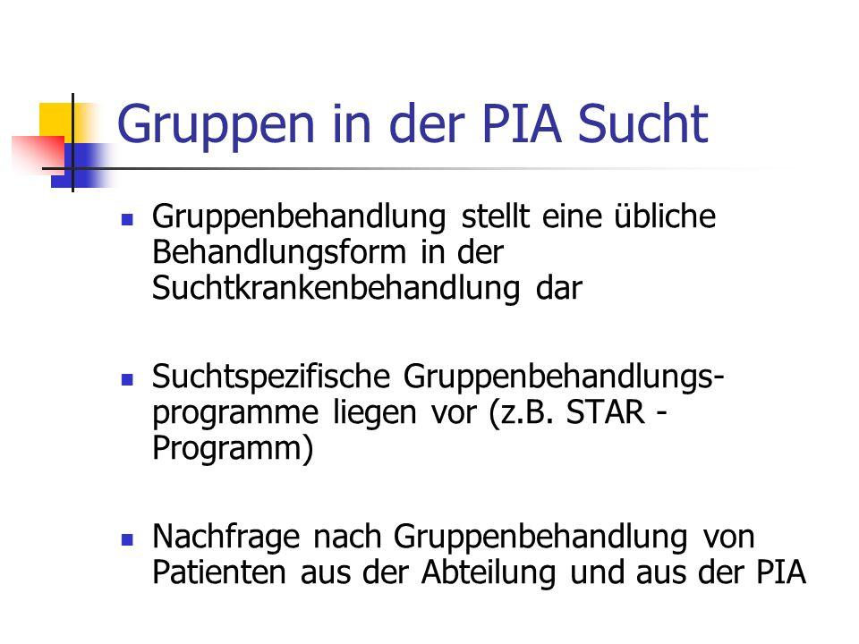Gruppen in der PIA Sucht