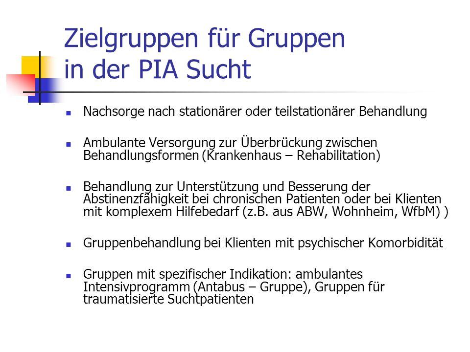 Zielgruppen für Gruppen in der PIA Sucht