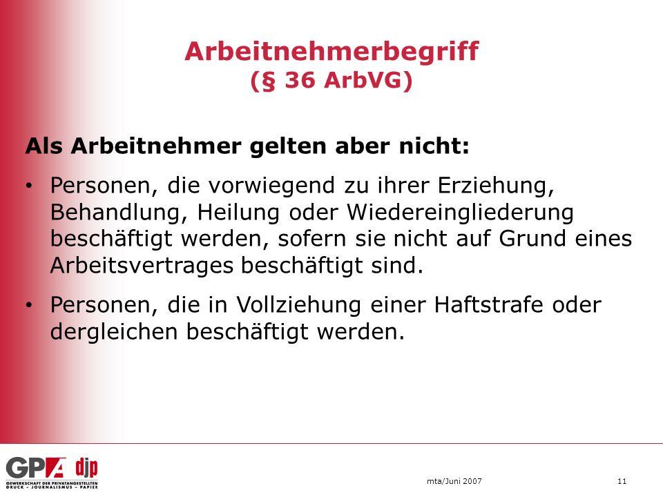 Arbeitnehmerbegriff (§ 36 ArbVG)