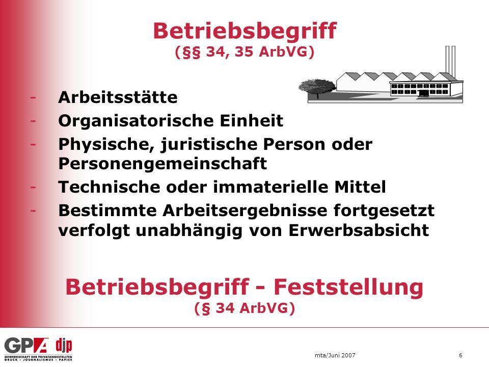 Betriebsbegriff (§§ 34, 35 ArbVG)