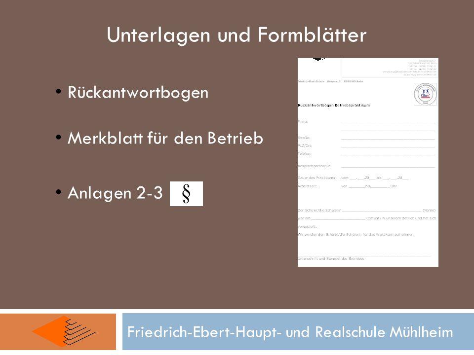 Unterlagen und Formblätter