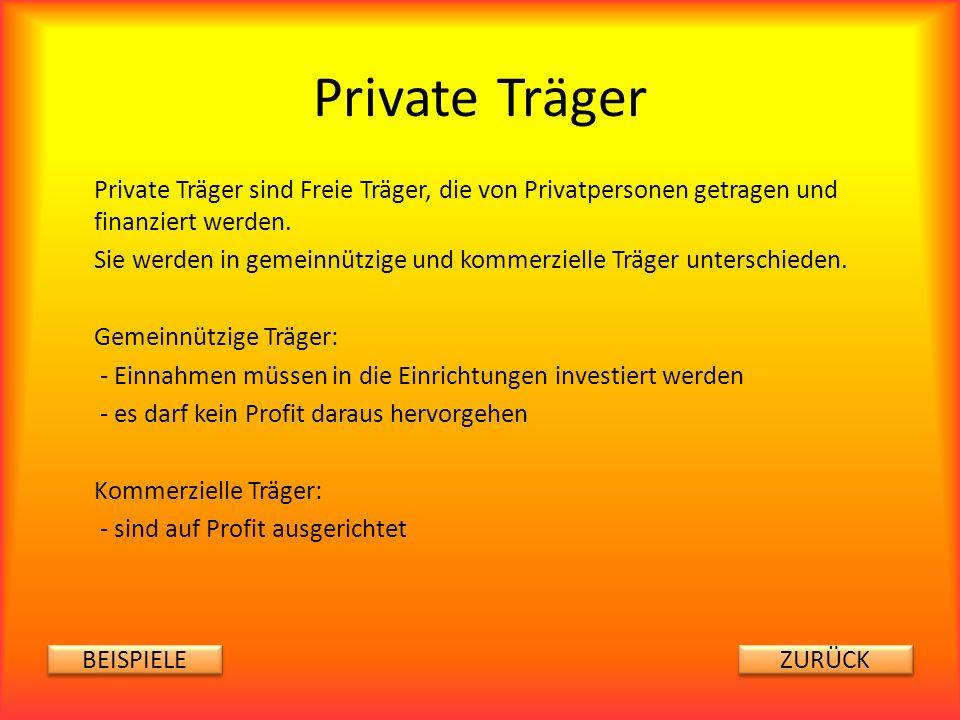 Private Träger Private Träger sind Freie Träger, die von Privatpersonen getragen und finanziert werden.