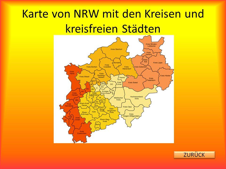 Karte von NRW mit den Kreisen und kreisfreien Städten