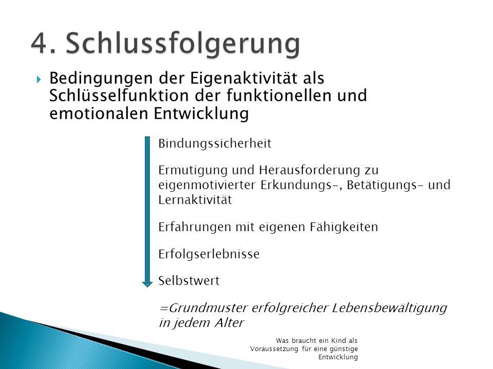 4. Schlussfolgerung Bedingungen der Eigenaktivität als Schlüsselfunktion der funktionellen und emotionalen Entwicklung.