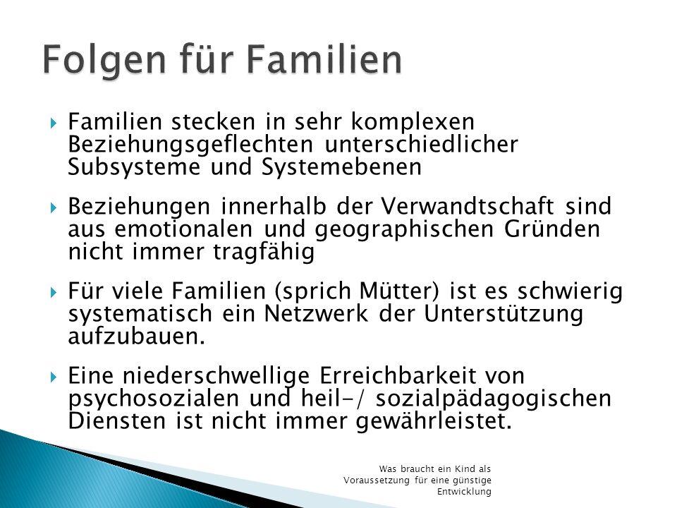 Folgen für Familien Familien stecken in sehr komplexen Beziehungsgeflechten unterschiedlicher Subsysteme und Systemebenen.