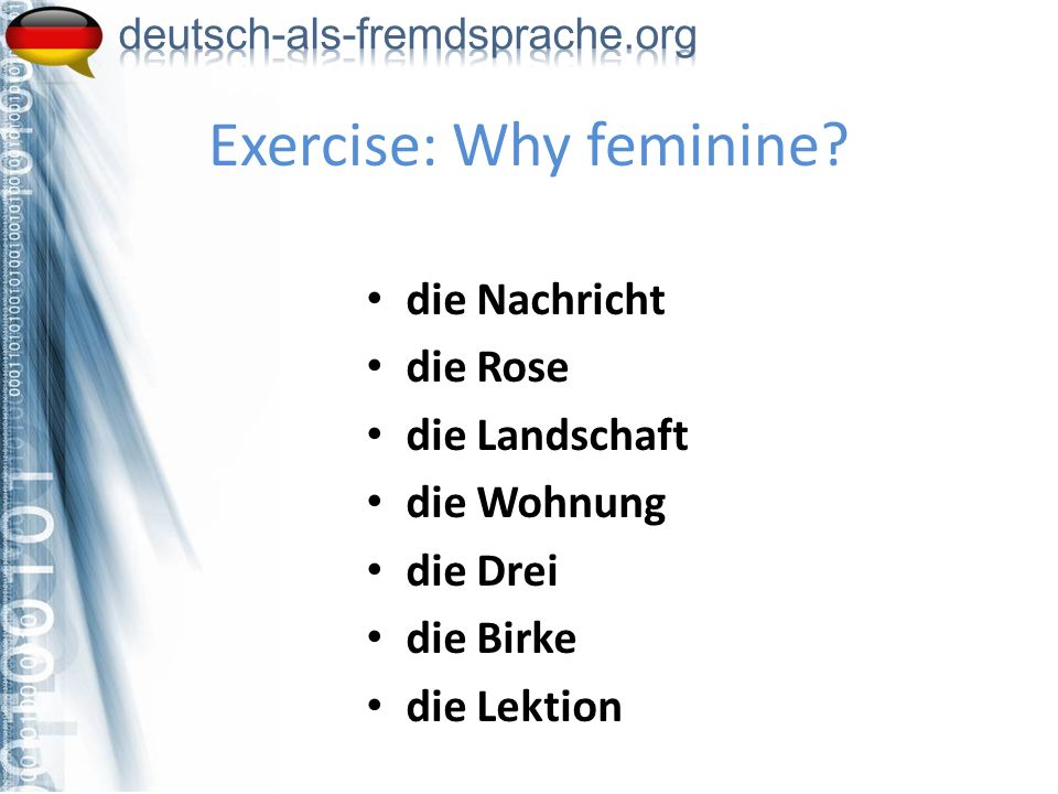 Exercise: Why feminine