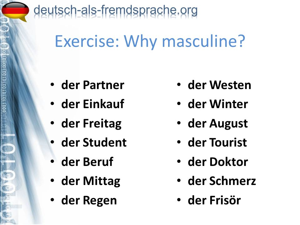 Exercise: Why masculine