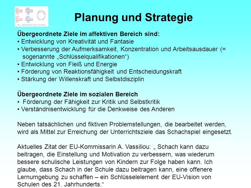 Planung und Strategie Übergeordnete Ziele im affektiven Bereich sind:
