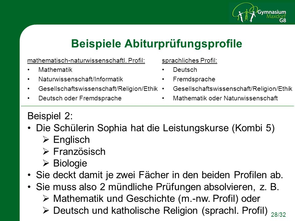 Beispiele Abiturprüfungsprofile