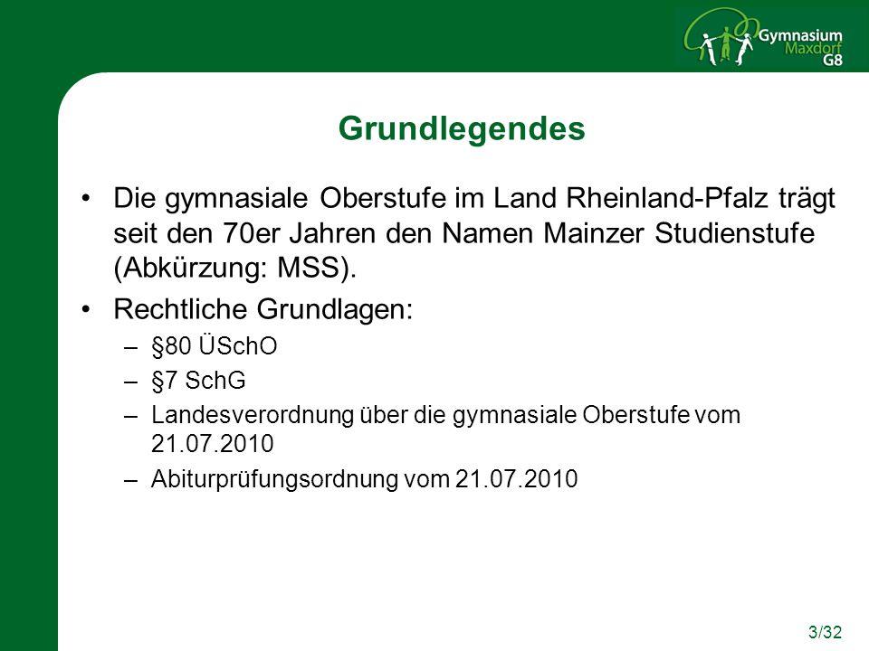 Grundlegendes Die gymnasiale Oberstufe im Land Rheinland-Pfalz trägt seit den 70er Jahren den Namen Mainzer Studienstufe (Abkürzung: MSS).