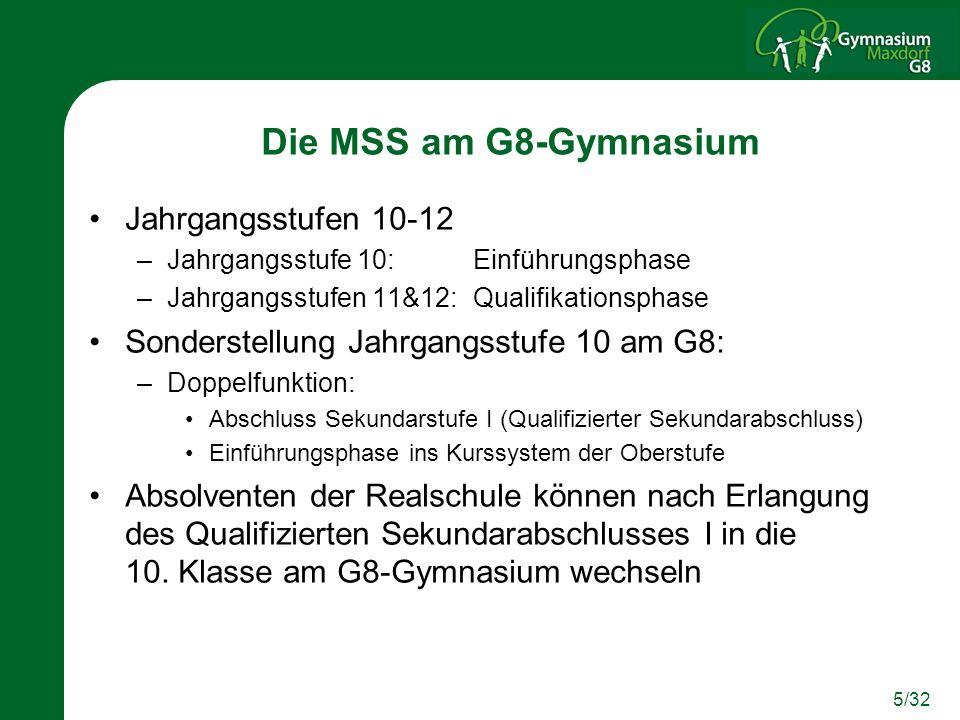Die MSS am G8-Gymnasium Jahrgangsstufen 10-12