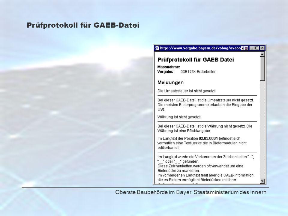 Prüfprotokoll für GAEB-Datei