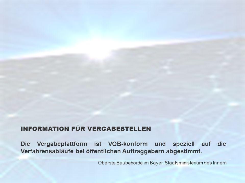 INFORMATION FÜR VERGABESTELLEN