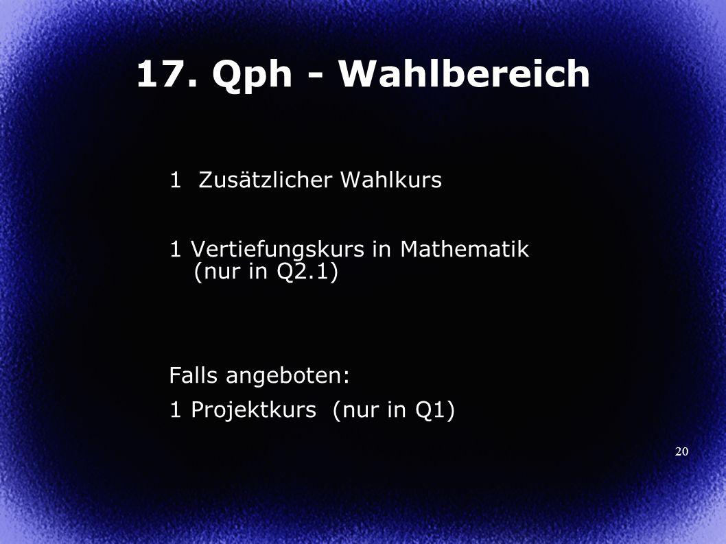 17. Qph - Wahlbereich 1 Zusätzlicher Wahlkurs