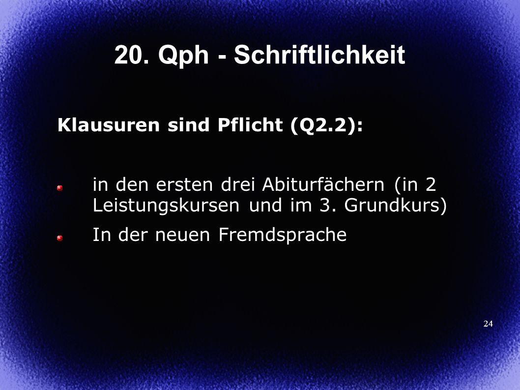 20. Qph - Schriftlichkeit Klausuren sind Pflicht (Q2.2):