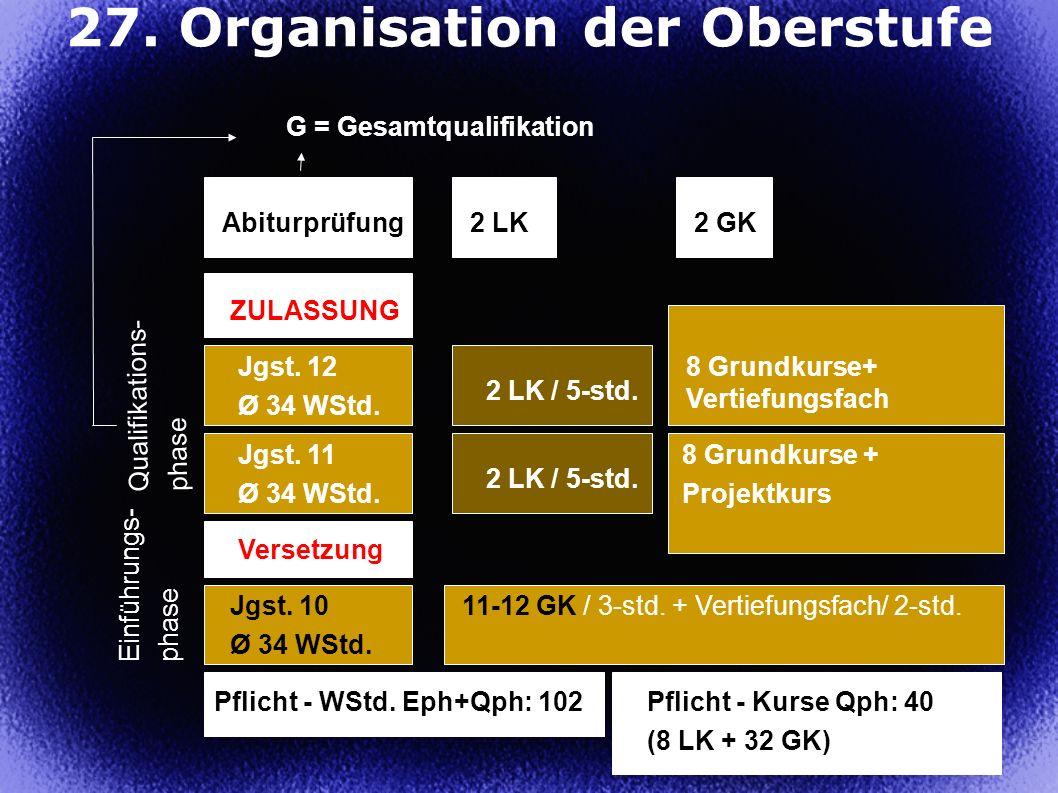 27. Organisation der Oberstufe
