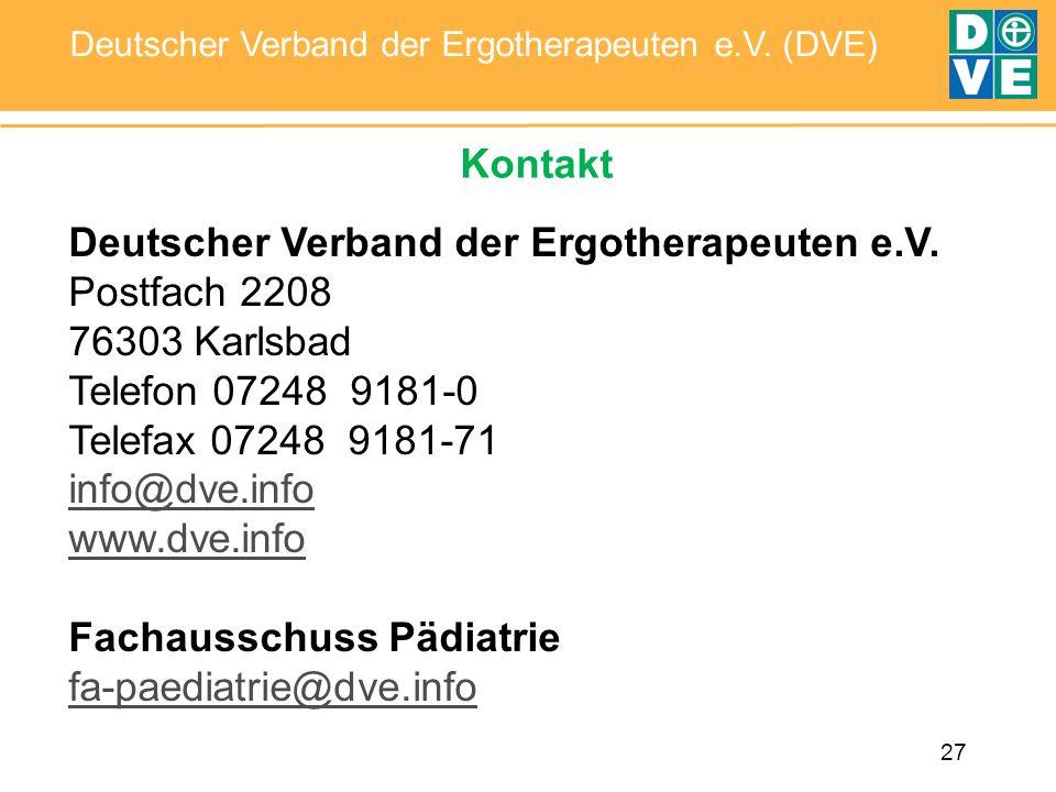 Kontakt Deutscher Verband der Ergotherapeuten e.V. Postfach 2208. 76303 Karlsbad. Telefon 07248 9181-0.
