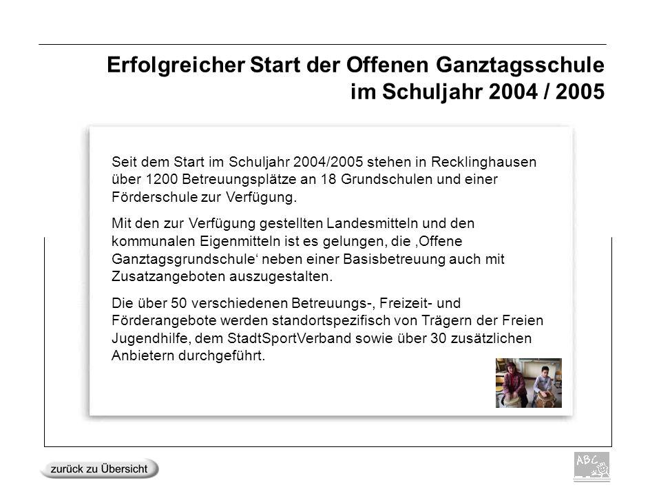 Erfolgreicher Start der Offenen Ganztagsschule im Schuljahr 2004 / 2005