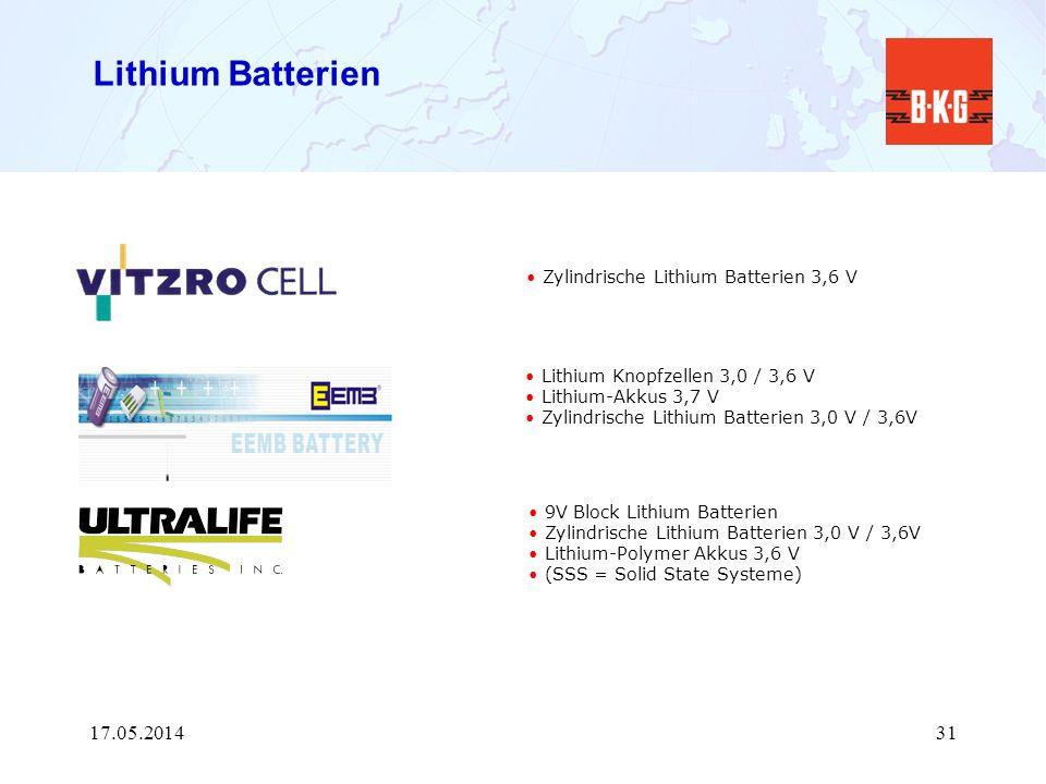 Lithium Batterien 30.03.2017 Zylindrische Lithium Batterien 3,6 V