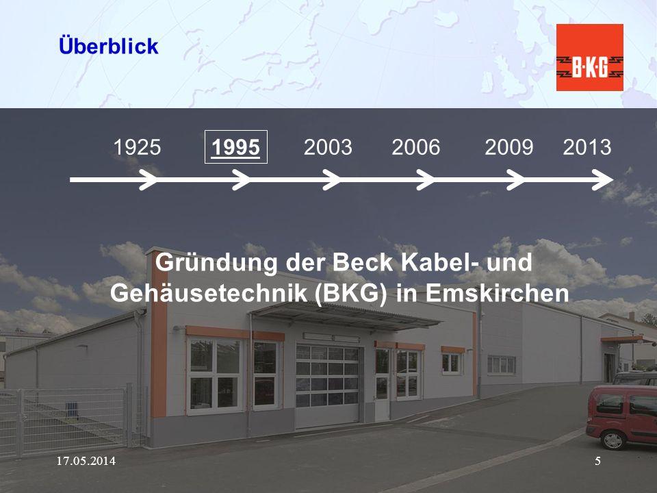 Gründung der Beck Kabel- und Gehäusetechnik (BKG) in Emskirchen
