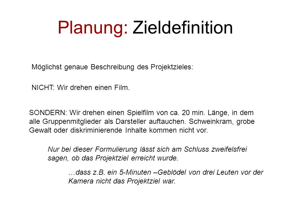 Planung: Zieldefinition