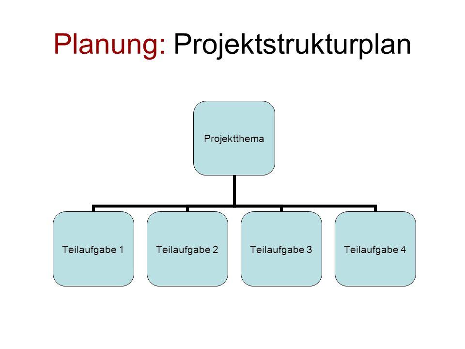 Planung: Projektstrukturplan