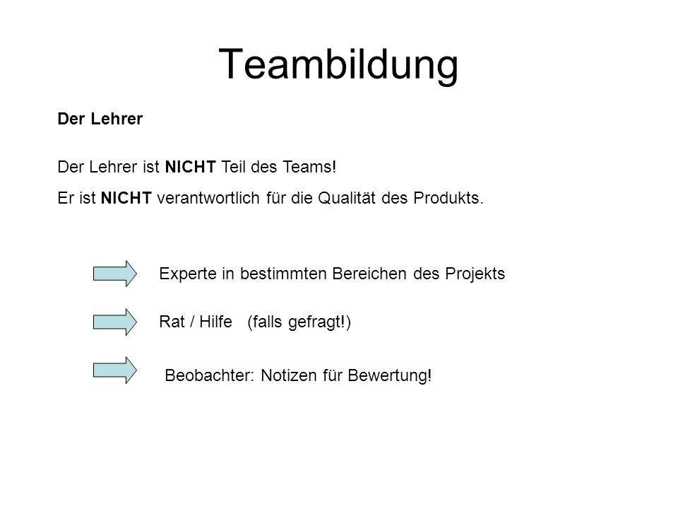 Teambildung Der Lehrer Der Lehrer ist NICHT Teil des Teams!