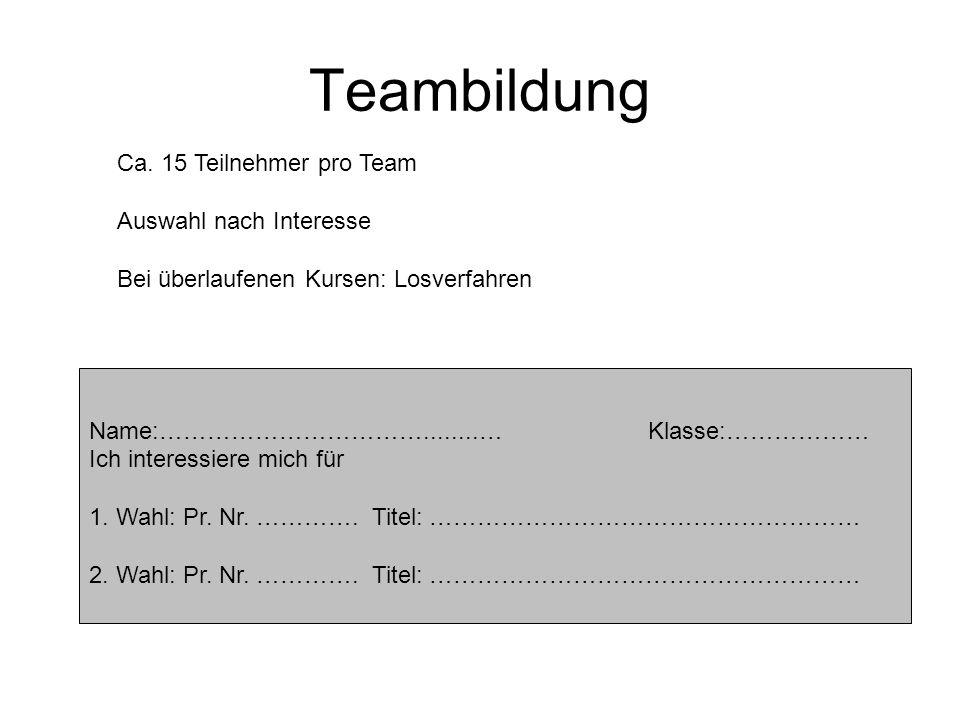 Teambildung Ca. 15 Teilnehmer pro Team Auswahl nach Interesse