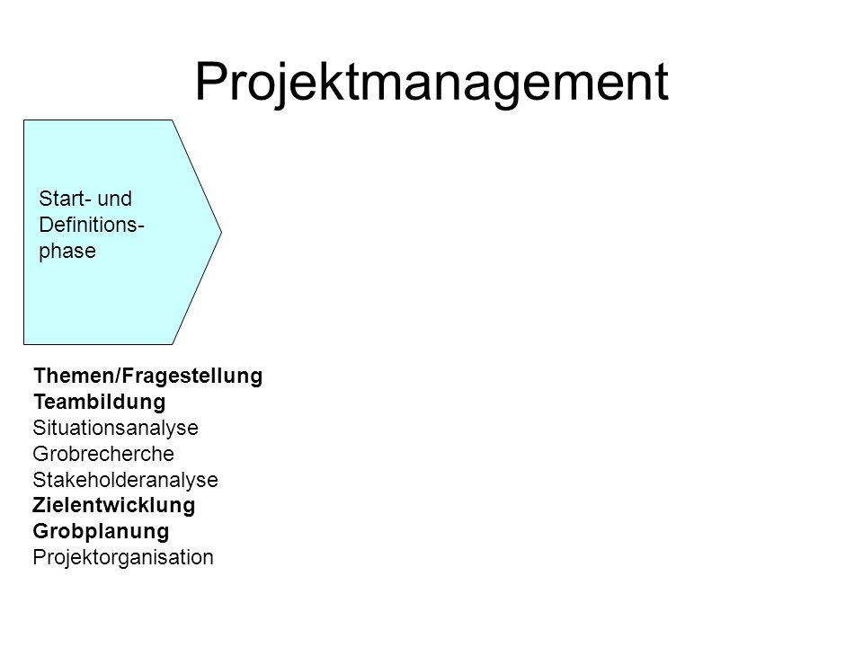 Projektmanagement Start- und Definitions-phase Themen/Fragestellung