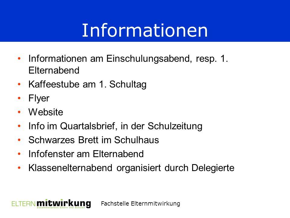 Informationen Informationen am Einschulungsabend, resp. 1. Elternabend