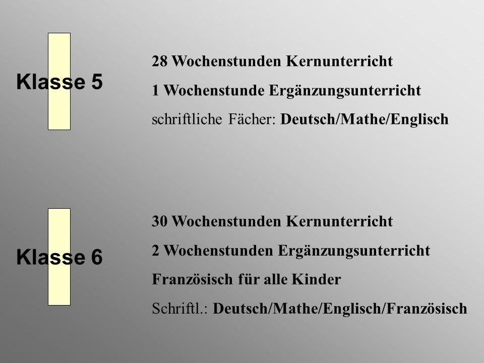 Klasse 5 Klasse 6 28 Wochenstunden Kernunterricht