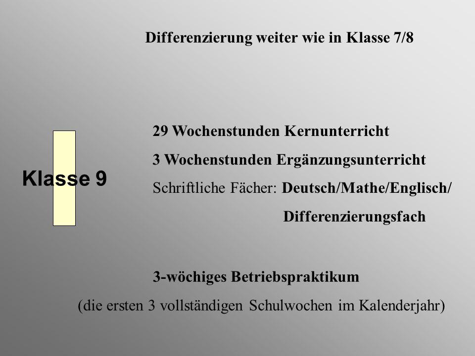 Klasse 9 Differenzierung weiter wie in Klasse 7/8
