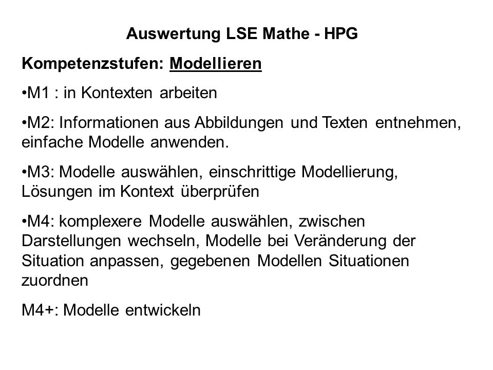 Auswertung LSE Mathe - HPG