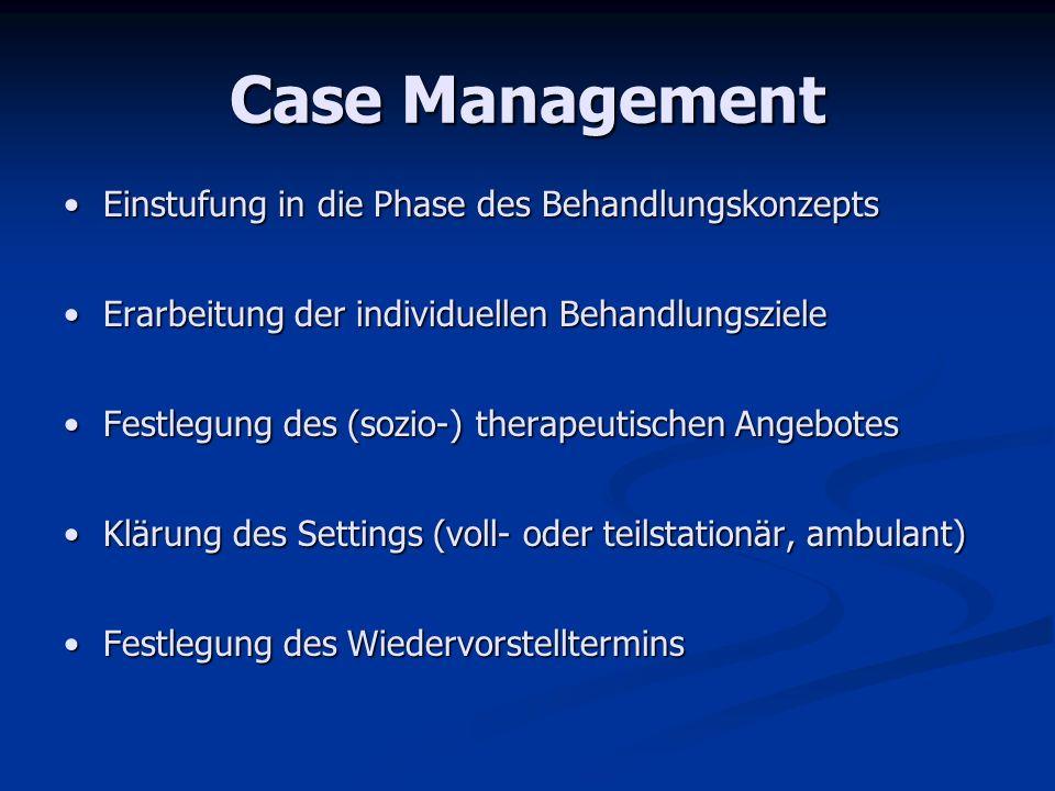 Case Management Einstufung in die Phase des Behandlungskonzepts
