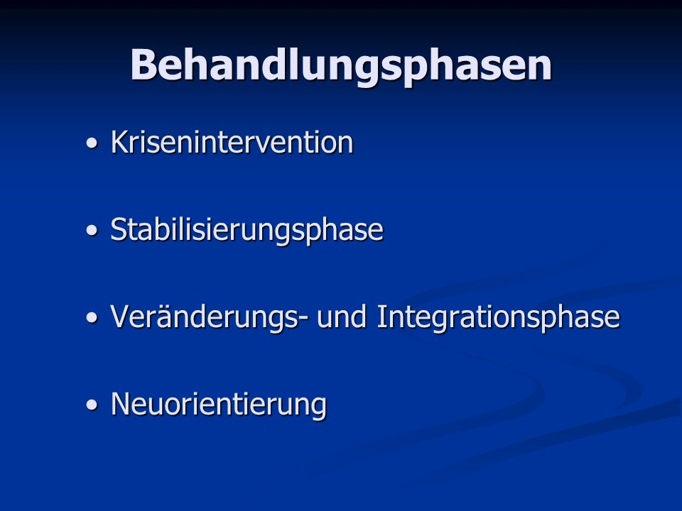 Behandlungsphasen Krisenintervention Stabilisierungsphase