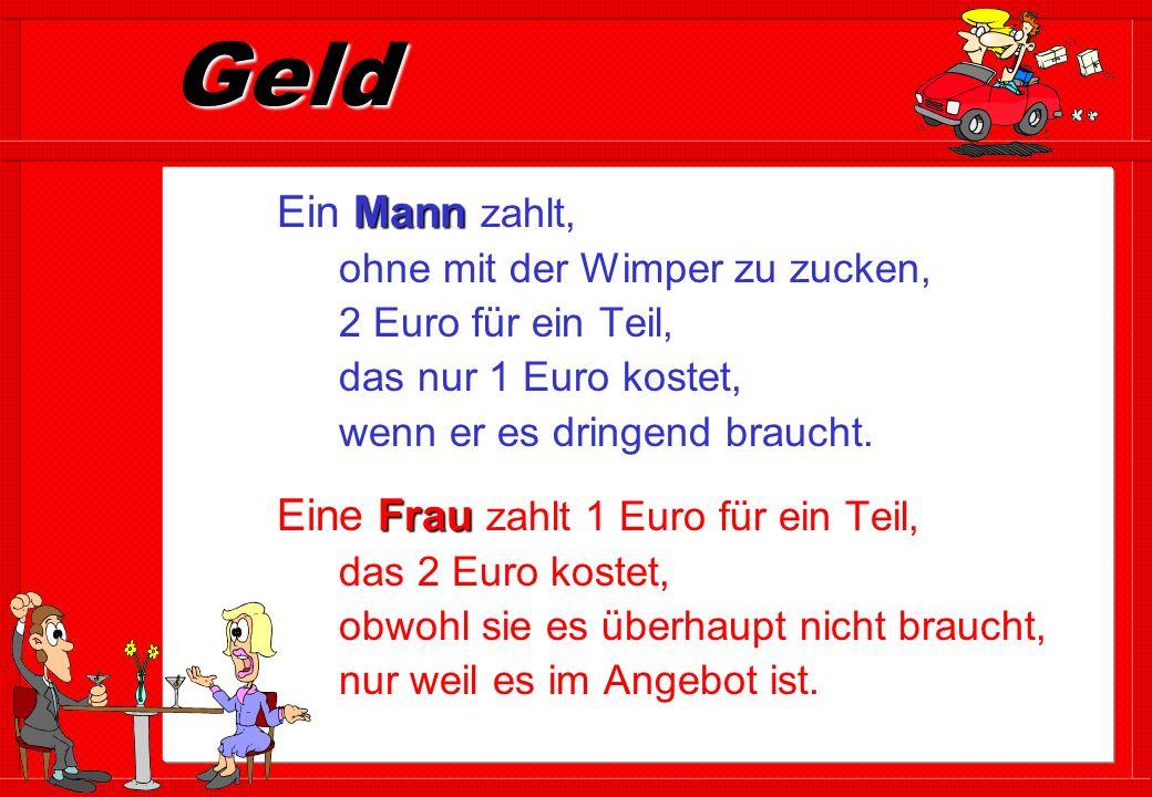 Geld Ein Mann zahlt, ohne mit der Wimper zu zucken, 2 Euro für ein Teil, das nur 1 Euro kostet, wenn er es dringend braucht.