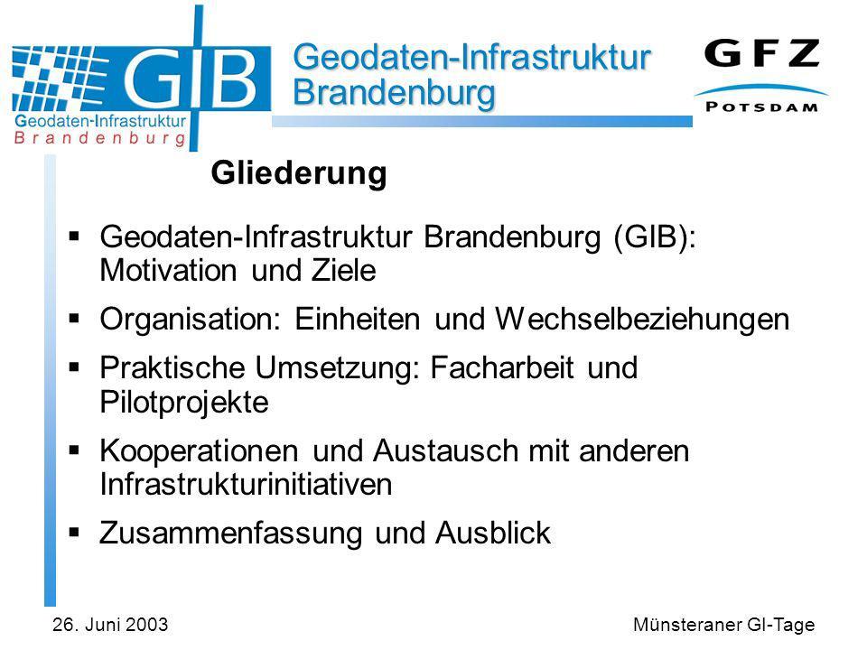 Gliederung Geodaten-Infrastruktur Brandenburg (GIB): Motivation und Ziele. Organisation: Einheiten und Wechselbeziehungen.