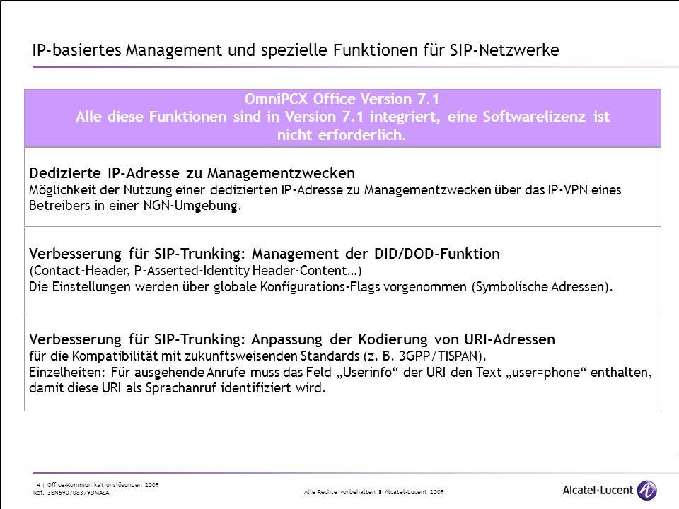IP-basiertes Management und spezielle Funktionen für SIP-Netzwerke