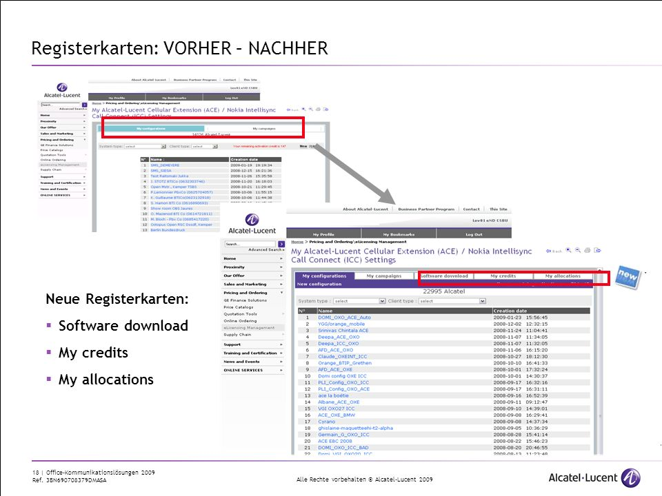 Registerkarten: VORHER – NACHHER