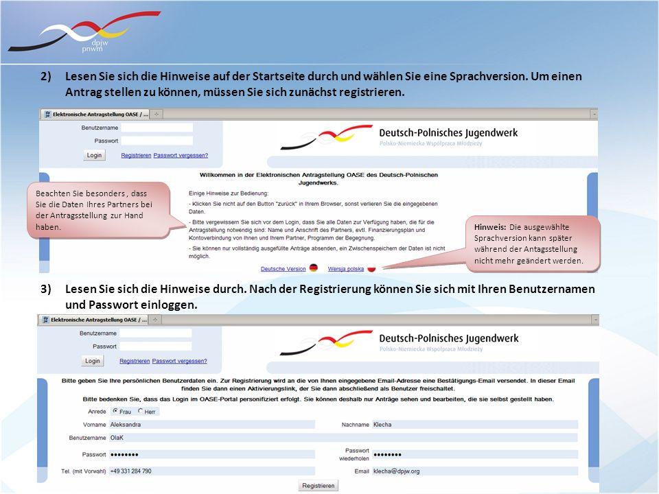2) Lesen Sie sich die Hinweise auf der Startseite durch und wählen Sie eine Sprachversion. Um einen Antrag stellen zu können, müssen Sie sich zunächst registrieren.