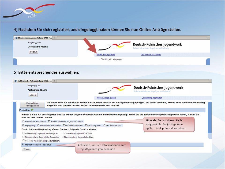 4) Nachdem Sie sich registriert und eingeloggt haben können Sie nun Online Anträge stellen.