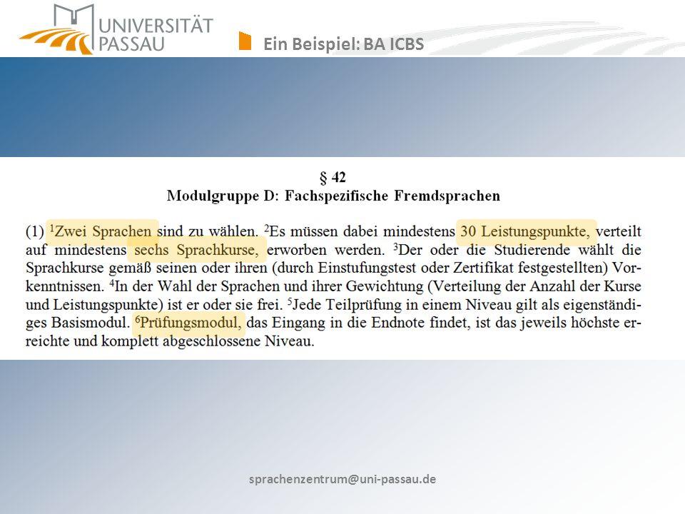 Ein Beispiel: BA ICBS sprachenzentrum@uni-passau.de