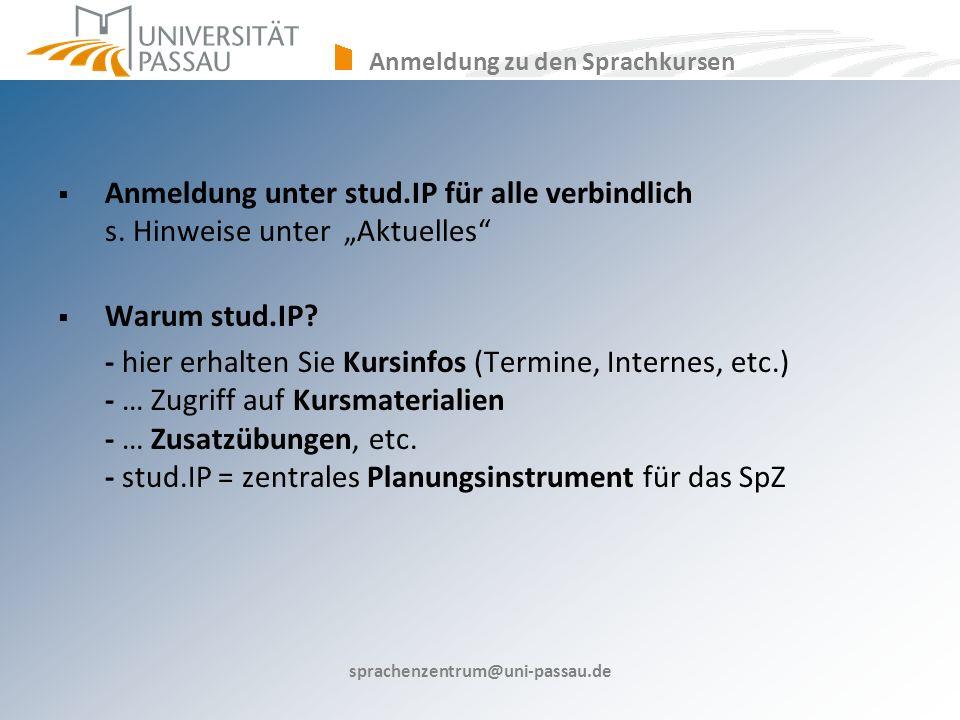 Anmeldung zu den Sprachkursen