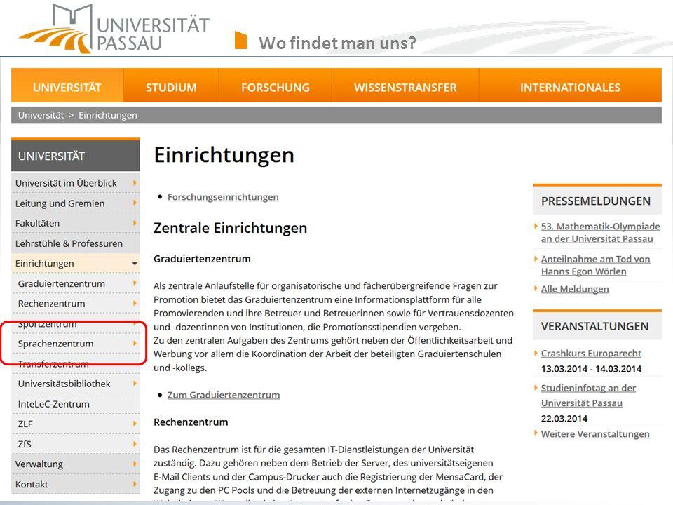 Wo findet man uns sprachenzentrum@uni-passau.de