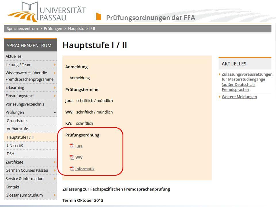 Prüfungsordnungen der FFA