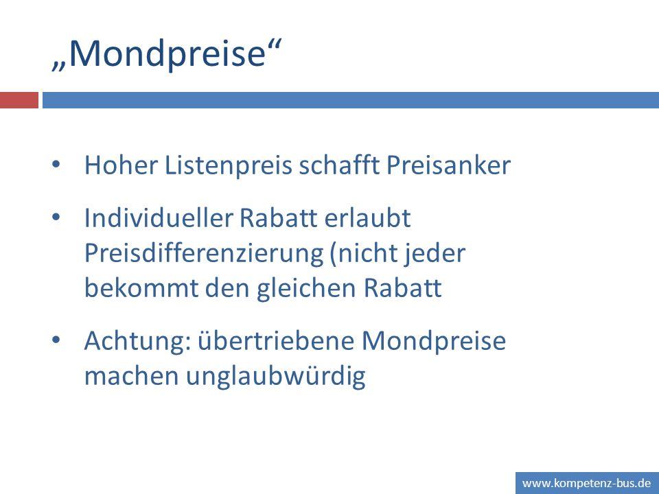 """Mondpreise Hoher Listenpreis schafft Preisanker"