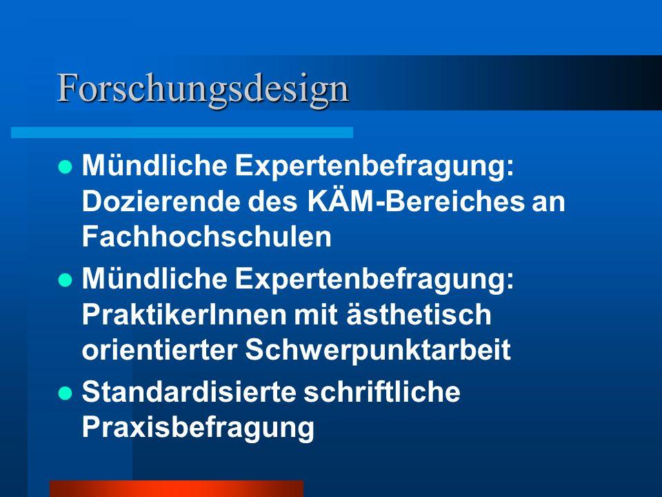 Forschungsdesign Mündliche Expertenbefragung: Dozierende des KÄM-Bereiches an Fachhochschulen.