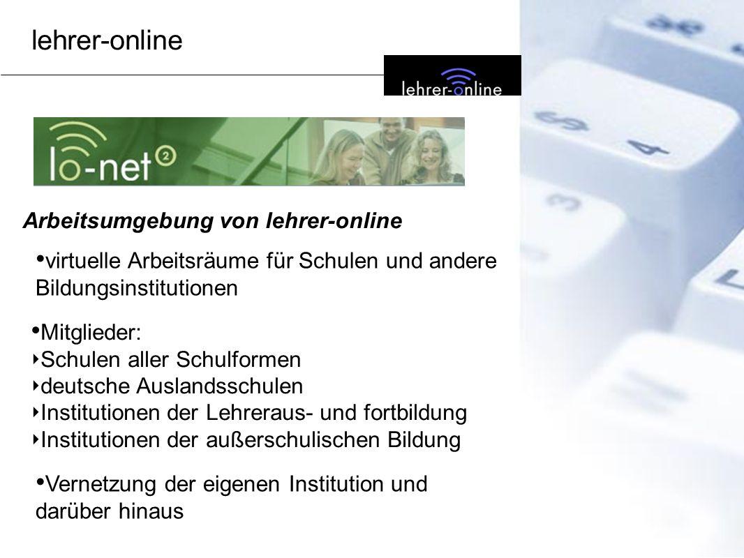 lehrer-online Arbeitsumgebung von lehrer-online