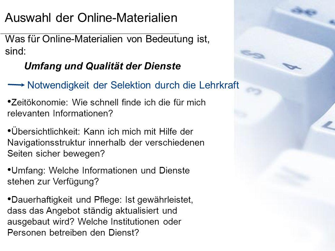 Auswahl der Online-Materialien